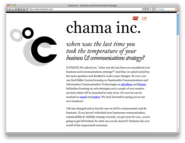 Chama Inc's site dramatically features their logo and a stimulating headline.