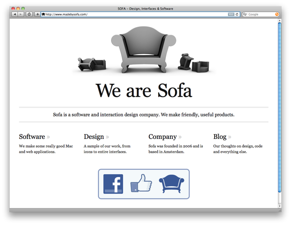 The software company Sofa's website is easy to scan. You can see a lot about the company at a glance.