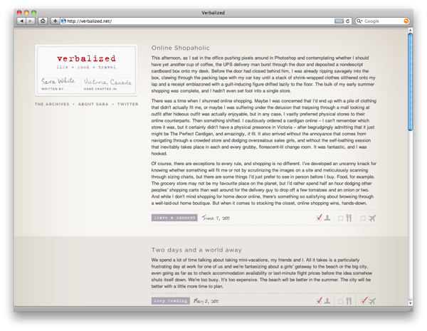 Verbalized's subtle colour scheme and minimal navigation make it stand out.
