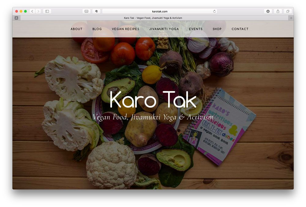 A new website for vegan cook and yogi, Karo Tak